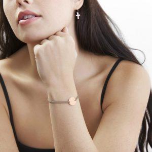 engraved rose gold disc bracelet with adjustable cord