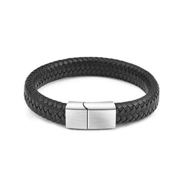 mens braided leather bracelet with engravable clasp