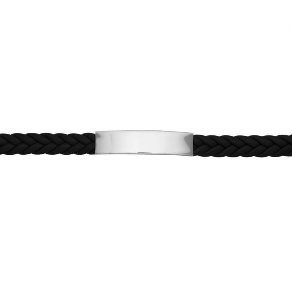 mens leather ID bracelet engraved