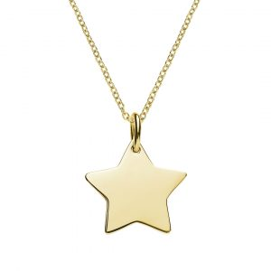 yellow gold plated star necklace engraved