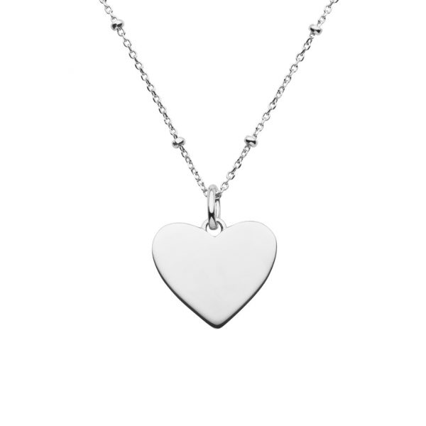 silver heart necklace with satellite chain