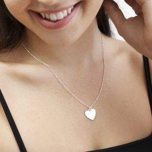 engraved silver heart necklace with satellite chain