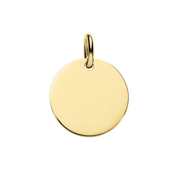 Large 20mm Yellow Gold Plated Disc Pendant you can engrave