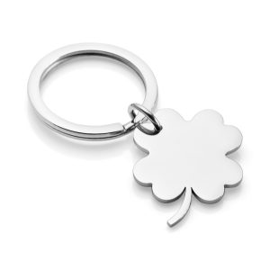lucky four leaf clover engraved keyring