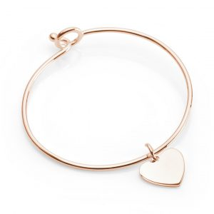 rose gold bangle with heart pendant