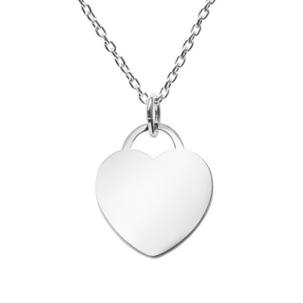 engraved large heart tag on sliding chain