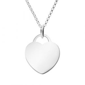 large engraved heart tag necklace