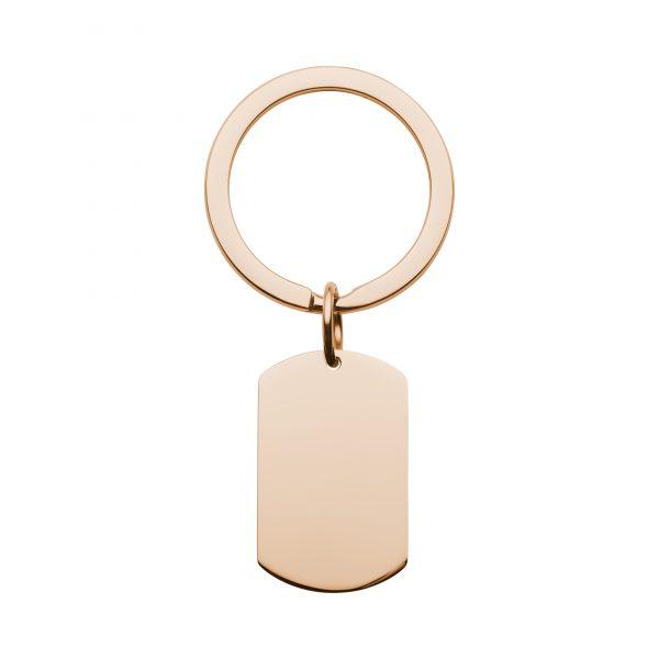 rose gold dog tag keyring