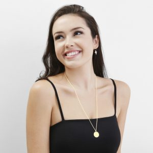 yellow gold large disc necklace