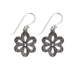 vintage look sterling silver marcasite flower earrings