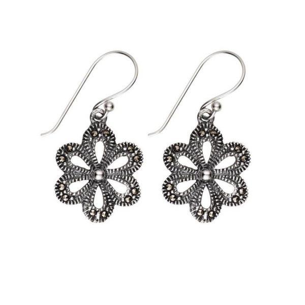 vintage look sterling silver marcasite flower earrings