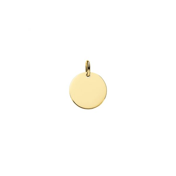 engraved yellow gold 10m disc pendant