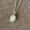 Silver Oval Necklace with letter E engraved