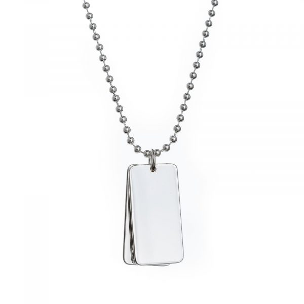 mens sterling silver double dog tag necklace