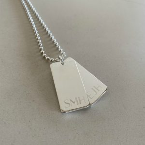 engraved mens sterling silver double bar necklace