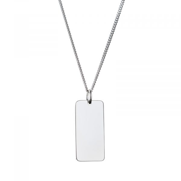 mens sterling silver bar necklace with curb chain