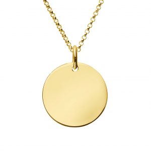 engraved gold large disc necklace