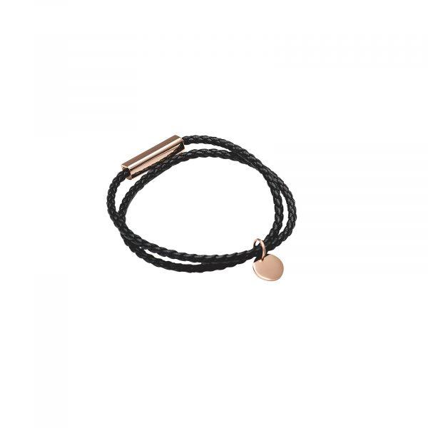 Leather mini disc bracelet
