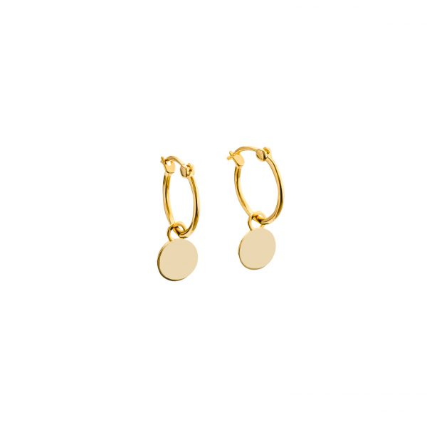 Yellow Gold Mini Disc Hoop Earrings