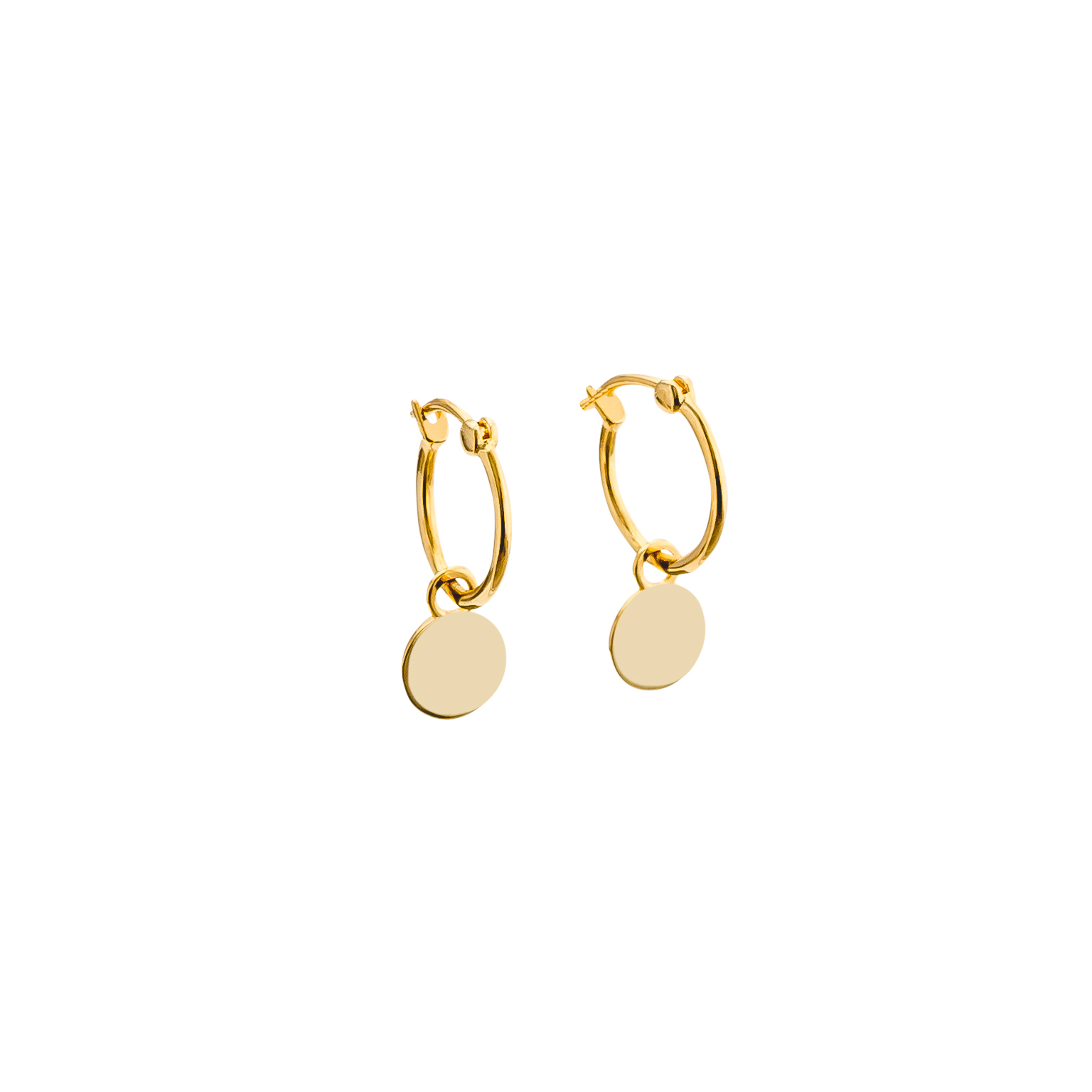 Yellow Gold Mini Disc Hoop Earrings