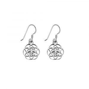 Sterling Silver Flower of Life drop earrings