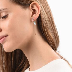 engraved sterling silver mini disc earrings
