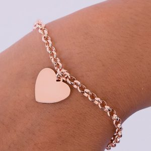 engraved rose gold pendant with belcher bracelet chain
