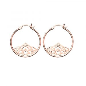 Rose Gold Tribal Hoop Earrings