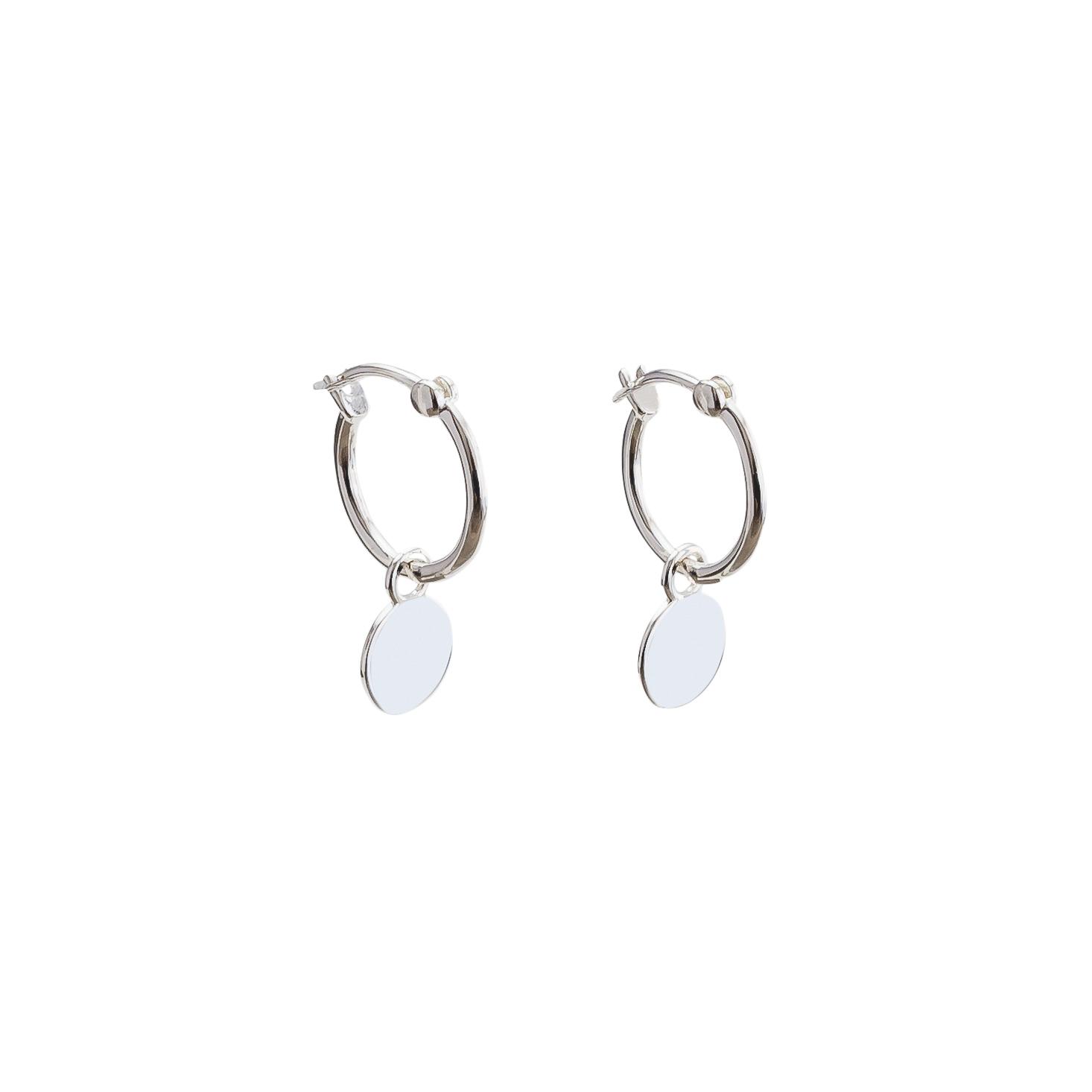 sterling silver mini disc hoop earrings