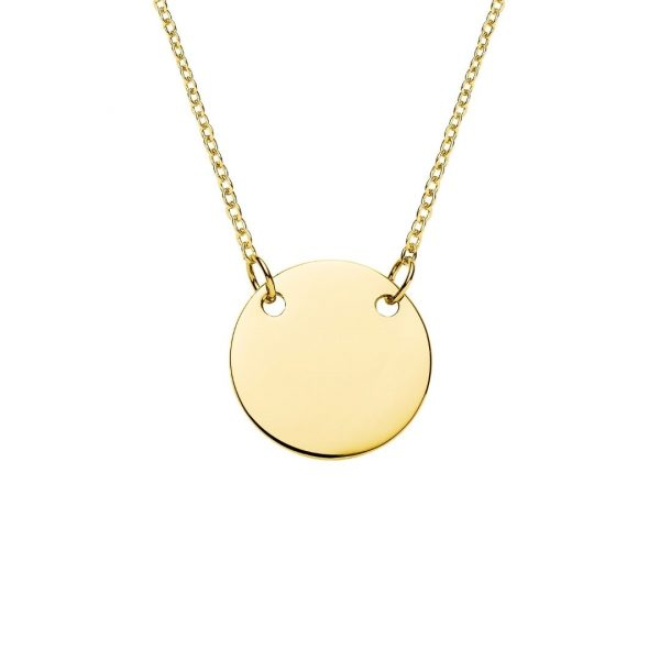 yellow gold suspended disc necklace