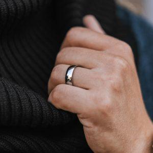 6mm steel ring for men engraved