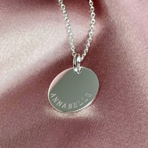 engraved necklace - curved name necklace