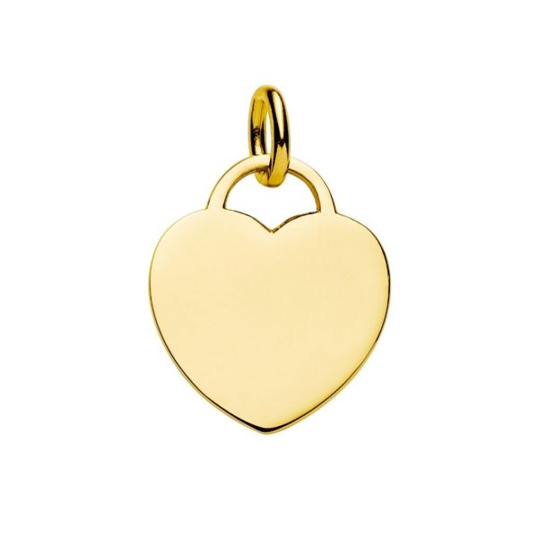 large yellow gold heart tag pendant engraved