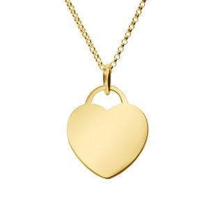 large yellow gold heart tag pendant with rolo chain