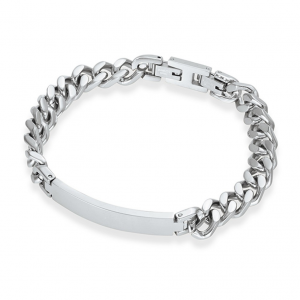 mens engraved steel id bracelet