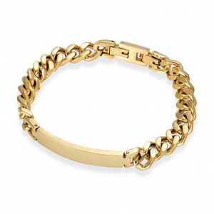 mens gold steel id bracelet you can engrave