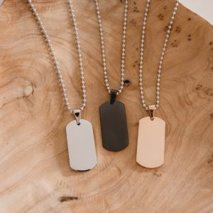 engraved jewellery steel military style dog tag necklace
