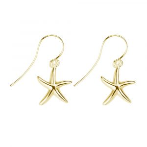 yellow gold plated sterling silver starfish earrings
