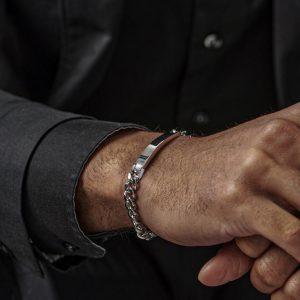 engraved mens steel curb ID bracelet 7mm wide