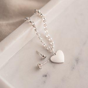 engraved heart bracelet and heart earrings