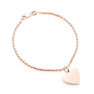rose gold rope bracelet with heart pendant