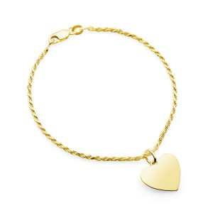 yellow gold french rope bracelet with heart pendant
