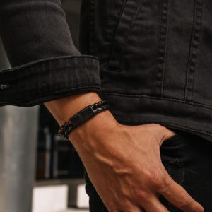 engraved mens leather and bead bracelet