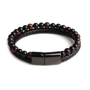 mens leather and bead bracelet engraved jewellery