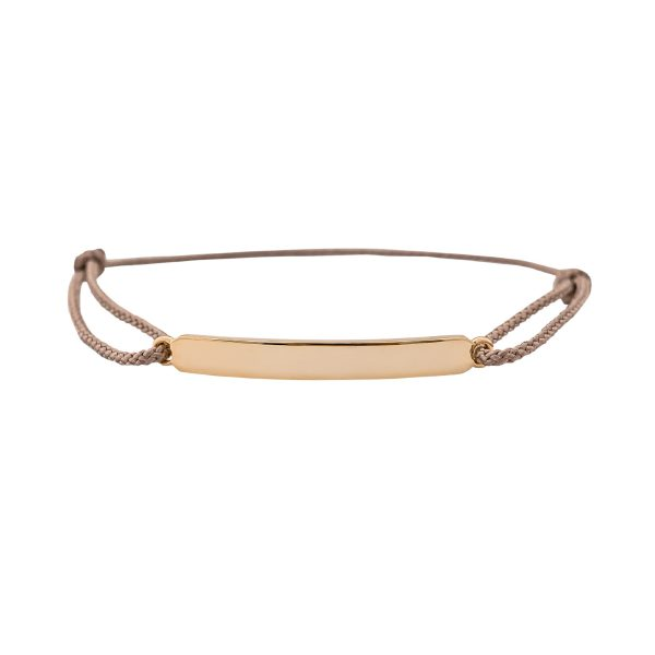 natural cord womens rose gold ID bracelet