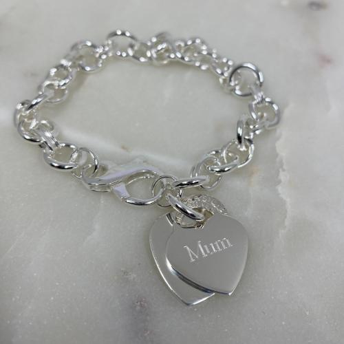 chunky silver bracelet engraved
