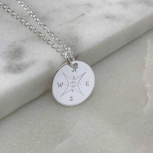 compass symbol silver necklace