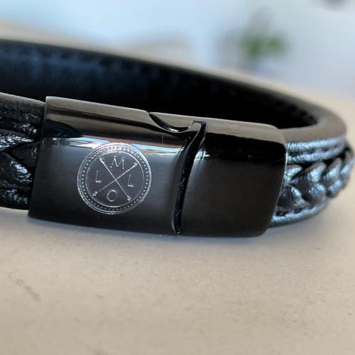 custom engraving on mens leather bracelet