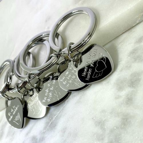 heart keyrings engraved with motivation message gifts for students