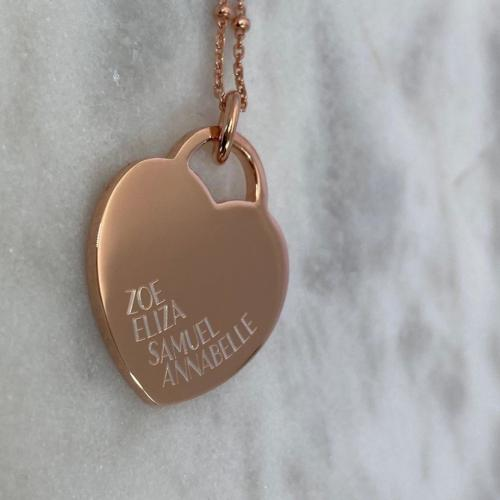 large heart tag pendant engraved